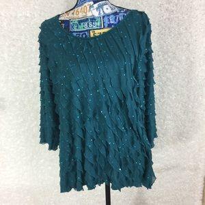 Elementz  blue green blouse size 2X